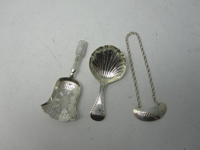 A George III silver caddy spoon by S.Godbehere & Co, London 1800  (3)