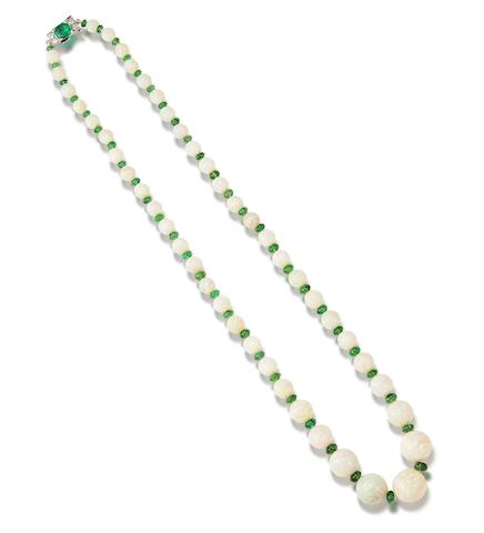 An opal and emerald bead necklace