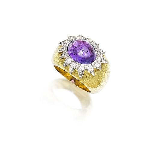 An amethyst and diamond ring, by Grima