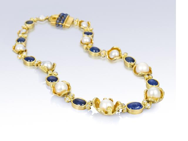 A cultured pearl, sapphire and diamond necklace, by Grima,