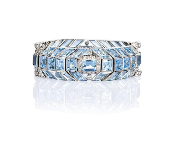 An art deco aquamarine and diamond bracelet,