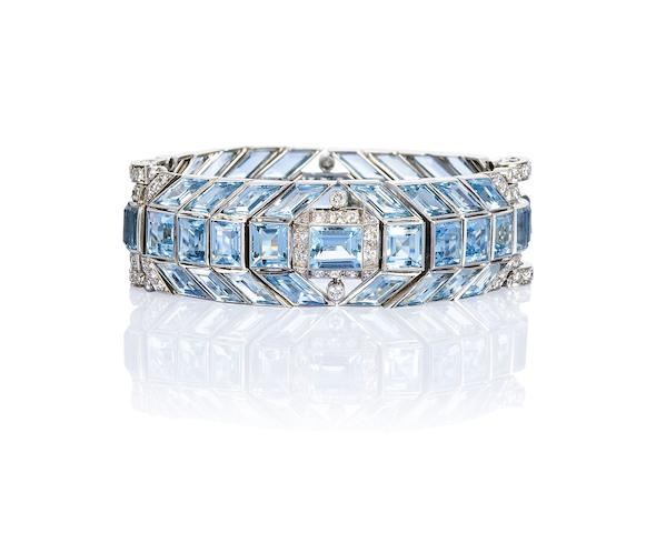 An art deco aquamarine and diamond bracelet,