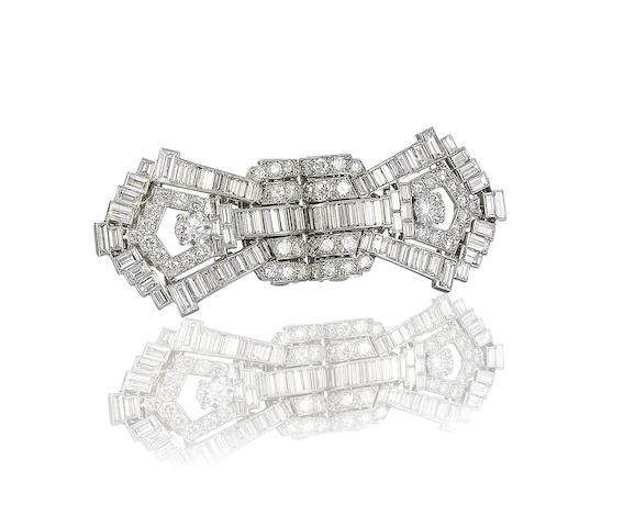 An art deco diamond double-clip brooch, by Cartier,