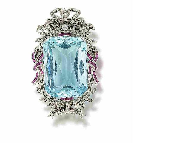 An aquamarine, ruby and diamond clip brooch,