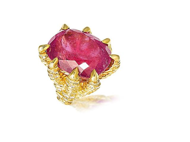 A tourmaline and diamond ring,