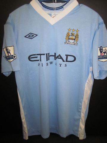 2011/12 James Milner match worn hand signed Manchester City shirt