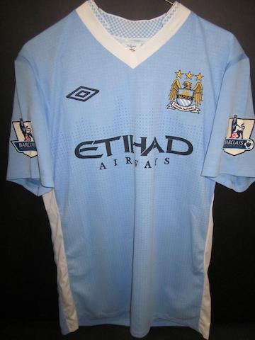 2011/12 Clichy match worn hand signed Manchester City shirt