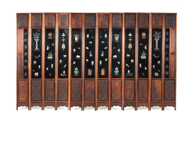 A fine and large inlaid lacquer twelve-leaf screen 19th century