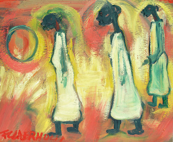 Frans Martin Claerhout (South African, 1919-2006) Three figures in white dresses