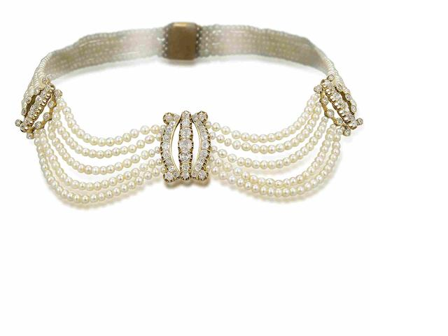 A natural pearl and diamond choker