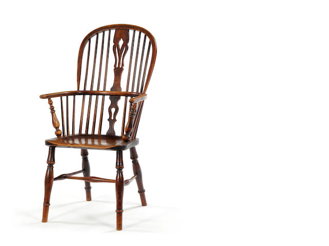 A 19th century ash and elm high-back Windsor armchair