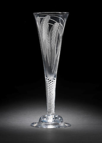 An unusual ceremonial engraved ale glass, circa 1750-60