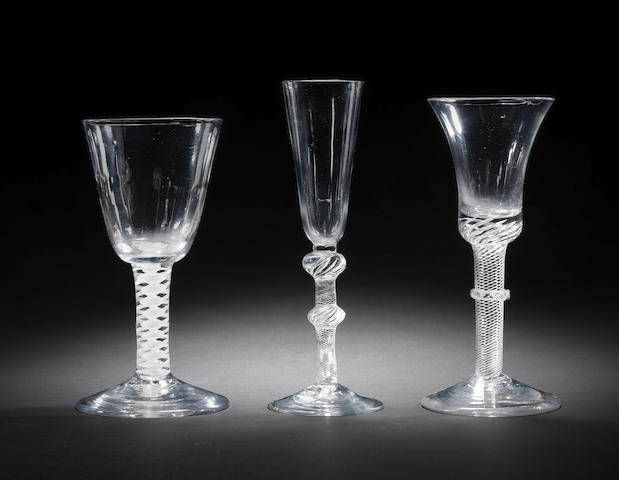 Two wine glasses and an ale glass, circa 1750-70