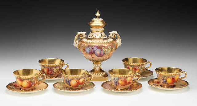 A set of six Royal Worcester Painted Fruit teacups and saucers, late 20th century