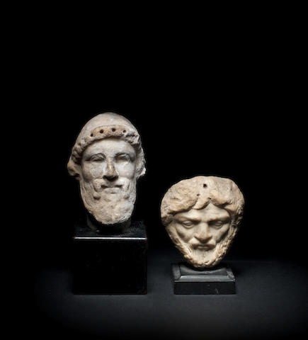 Two Roman marble bearded male heads 2