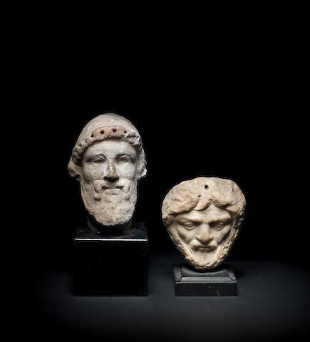 Two Roman marble bearded male heads 2