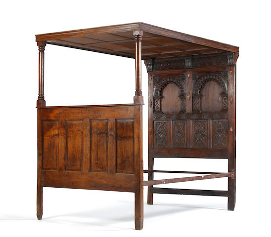 An oak tester bed In the late 17th century manner