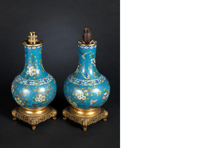 A pair of cloissonie vases, converted into lamps. (2)