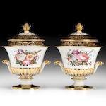 A fine pair of Chamberlain Worcester ice pails, covers and liners, circa 1825