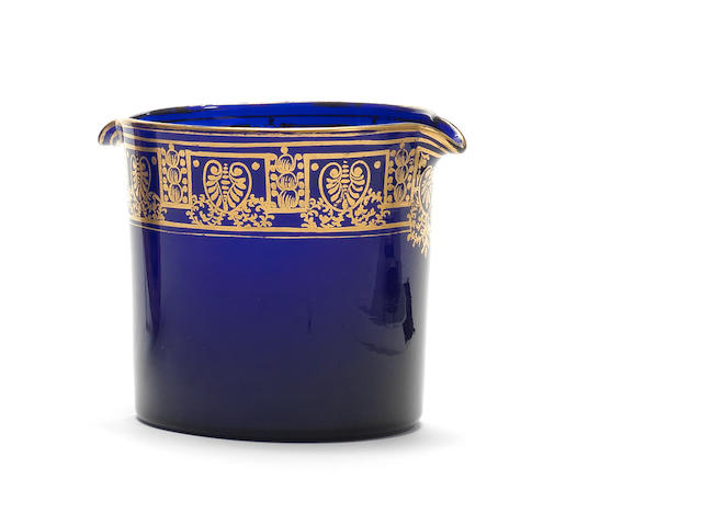 A Bristol 'Non-such' gilt blue-tinted wine glass rinser, circa 1805