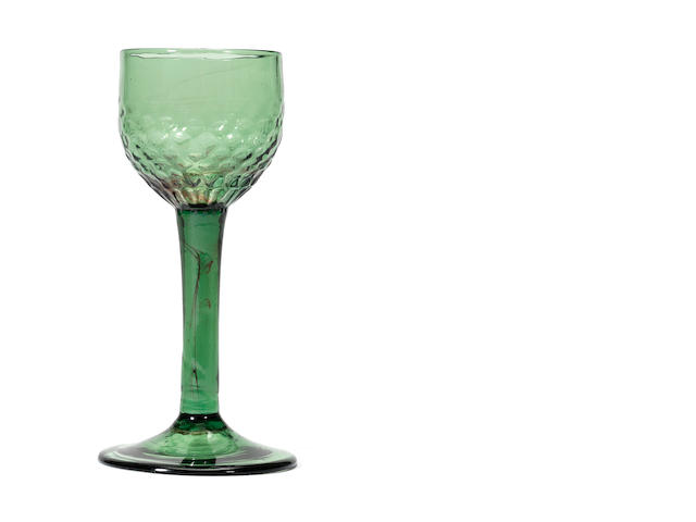 A rare green-tinted 'Export' wine glass, circa 1770