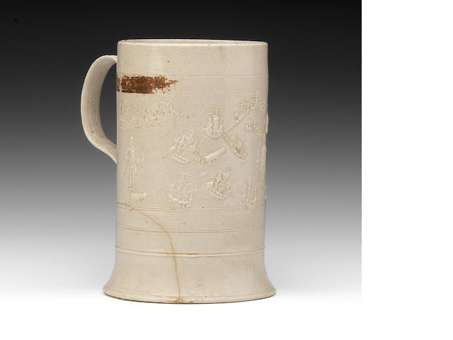 A saltglaze tankard, dated 1739