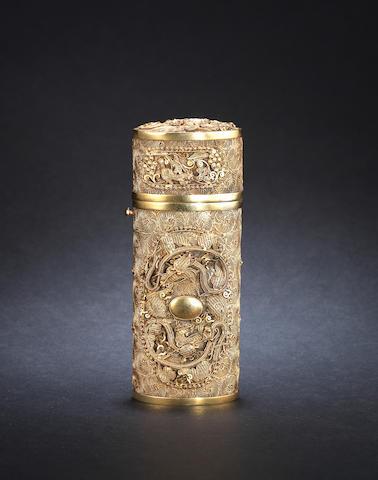 A Canton silver-gilt, filigree necessaire 19th or 20th century [CHECK]
