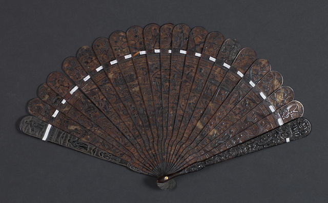 A Cantonese tortoise shell fan 19th century