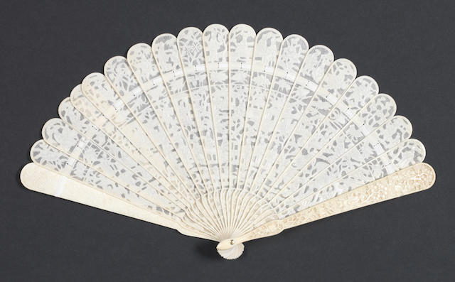 A Cantonese, twenty-one stick ivory fan 19th century