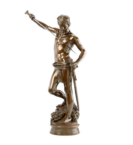 Jean Antonin Mercié, French (1845-1916)  A bronze model of David with the head of Goliath David Vainqueur