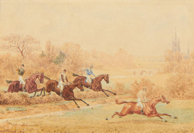 4 19th century hunting watercolours in 2 original ornate frames by William Tuck