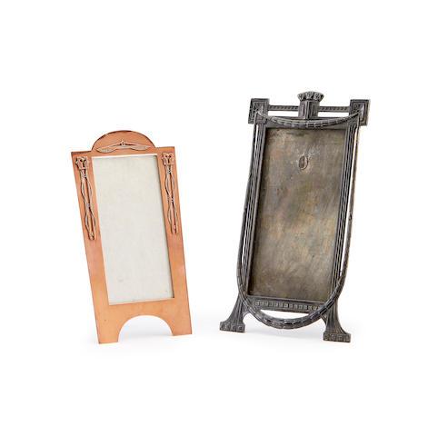 Two Art Nouveau Jugenstil metal photograph frames