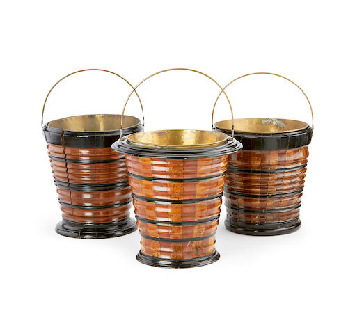 Three 19th century Dutch fruitwood and ebonised peat buckets