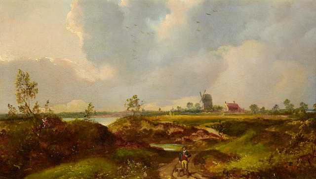 British School, 19th Century Landscape with figure on a path