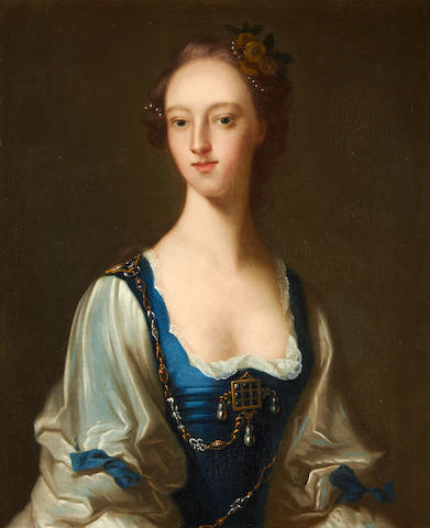 Portrait of a lady by Isaac Whood in original armorial rococco frame, circa 1740