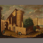 Architectural capriccio with church and figures, Spanish school, early 18th Century