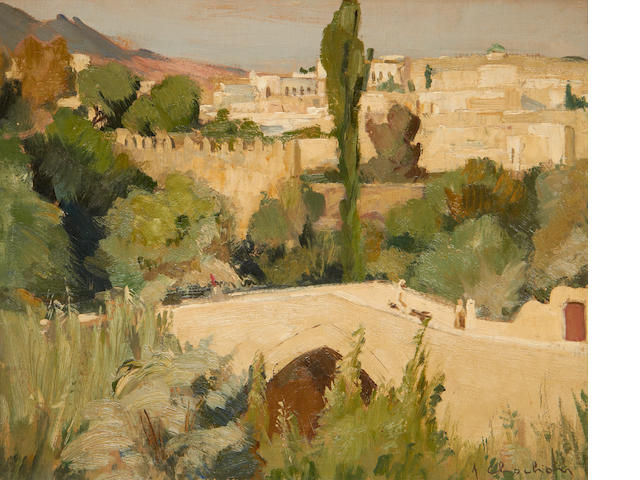 Andre Chochon, oil on board, Fez, dated 1939