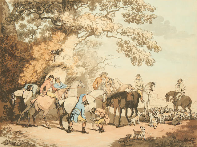 2 aquatint and line etchings in original colour – Fox Hunting Thomas Rowlandson, 1787