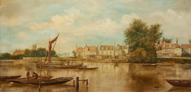 W. Howard (British) Suffolk harbour scene