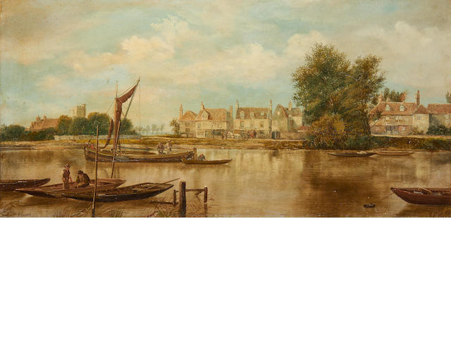 Suffolk harbour scene – signed W Howard, 19th century