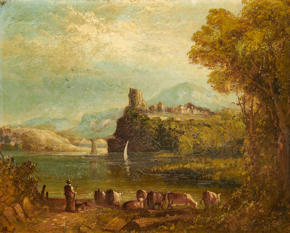 19th Century English School landscape with cattle by a lake