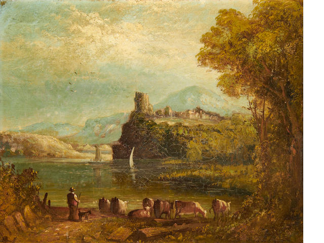 Landscape oil – cattle by lake, 19th Century