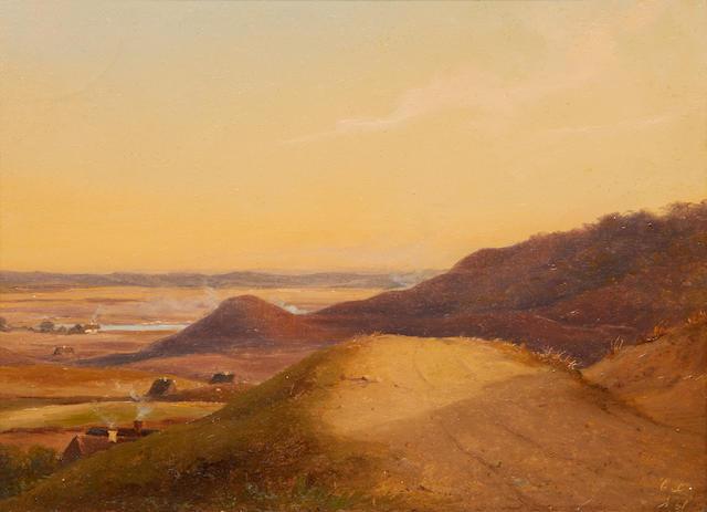 Danish landscape oil, dated 1861