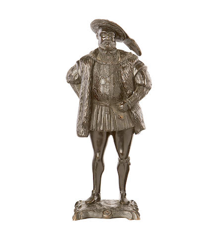 A 19th century bronze figure of King Henry VIII