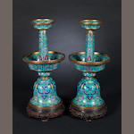 A pair of cloisonné enamel candlesticks Qianlong four-character marks, Qing Dynasty or later