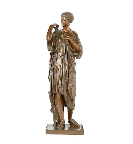 After the Antique: A late 19th century French bronze of the Diana de Gabiesby Barbedienne