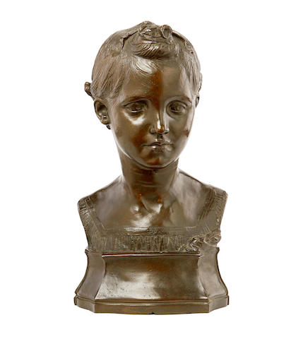 Conrad Dressler, Belgian (1856-1940) A bronze bust of a girl dated 1891
