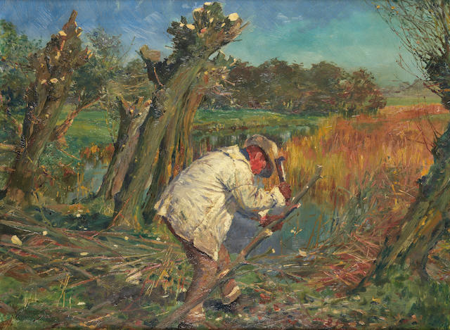 Sir Alfred James Munnings P.R.A., R.W.S. (British, 1878-1959) Woodcutting in October 45.5 x 61 cm. (18 x 24 in.)