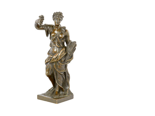 An 18th century French bronze figure of Ceres (Summer)