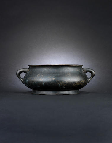 A bronze two-handled incense burner Xuande six-character mark